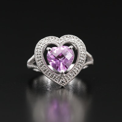 Sterling Silver Sapphire and Diamond Heart Halo Ring