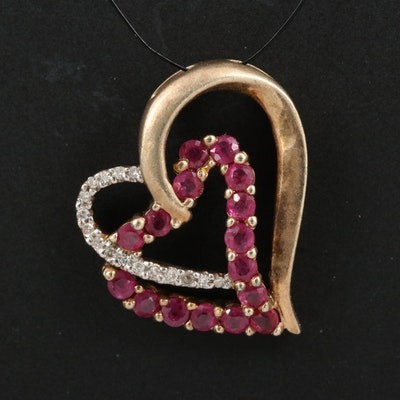 Sterling Ruby and Diamond Double Open Heart Pendant