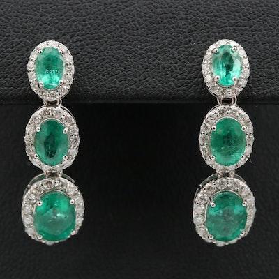 14K 5.04 CTW Emerald and 1.13 CTW Diamond Drop Earrings