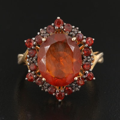 Sterling Silver Fire Opal and Diamond Ring