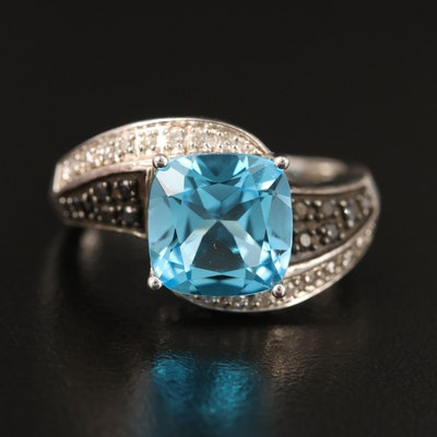 Sterling Bypass Ring with Topaz and Diamonds