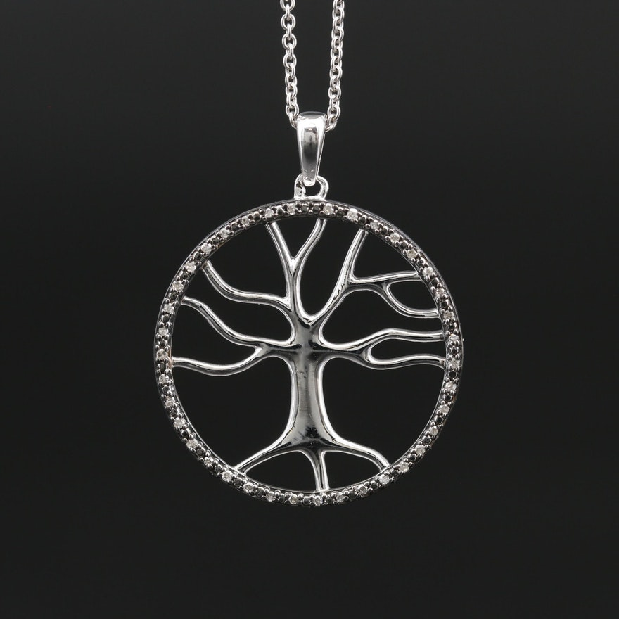 Sterling Silver Diamond Accented Tree of Life Pendant Necklace