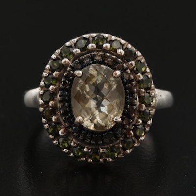 Sterling Silver Prasiolite, Tourmaline and Diamond Ring