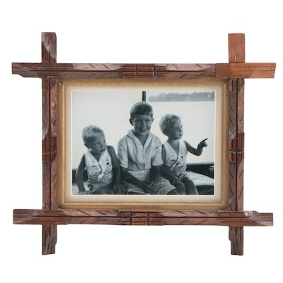 Black and White Photograph in Carved Wood Adirondack Style Frame