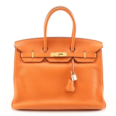 Hermès Birkin 35 Satchel in Hermès Orange Clemence Leather