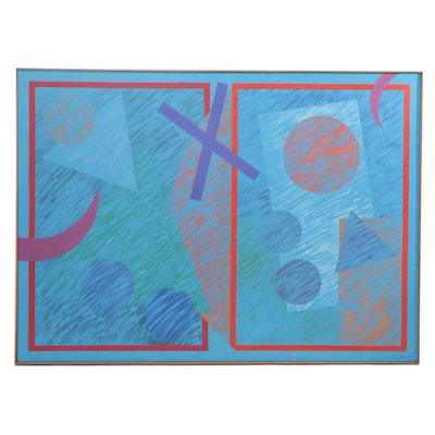 Walter Stomps Large-Scale Geometric Abstract Acrylic Painting, 1990