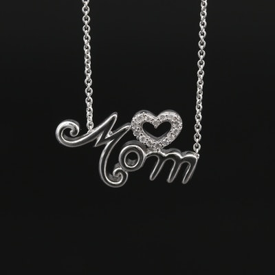 "Sterling Silver and Diamond ""MOM"" Heart Necklace"