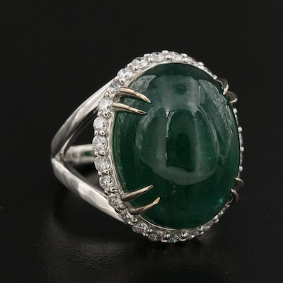 14K 23.81 CT Emerald and Diamond Double Prong Halo Ring with GIA Report