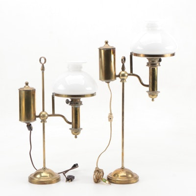 Pair of Kosmos Brenner Brass Converted Oil Student Lamps