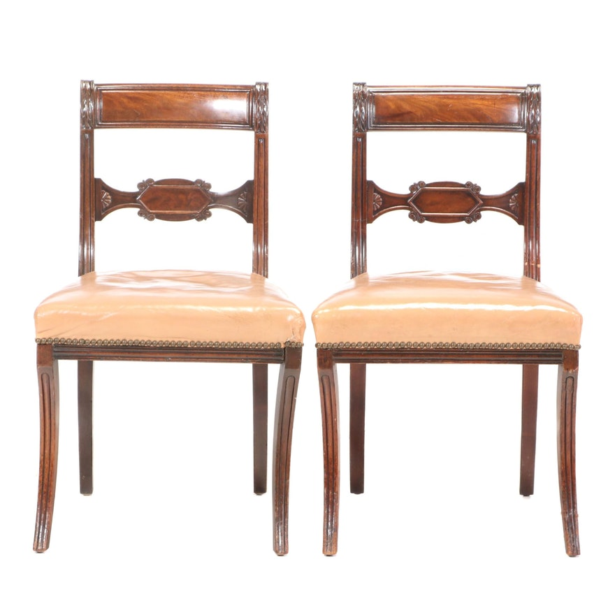 Pair of Regency Beech Side Chairs, Early 19th Century