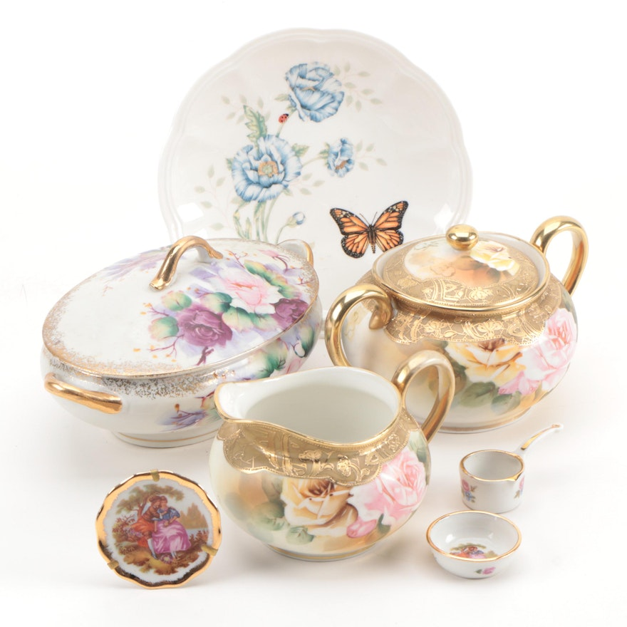 Lenox Porcelain Plate with Other Hand-Painted Porcelain Tableware and Décor