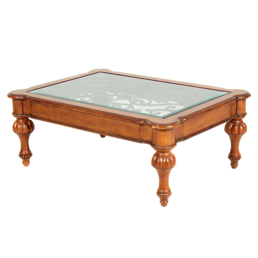 Mahogany-Stained Wood and Iron Coffee table with Glass Top, Late 20th C.