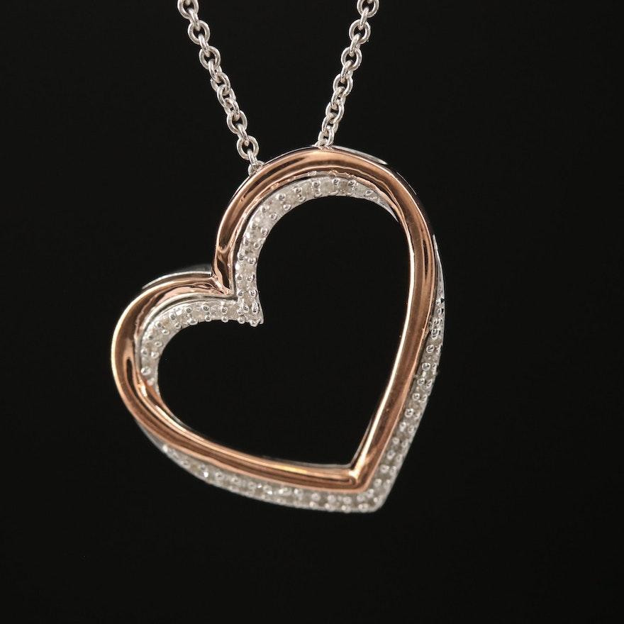 Sterling Diamond Open Heart Pendant Necklace