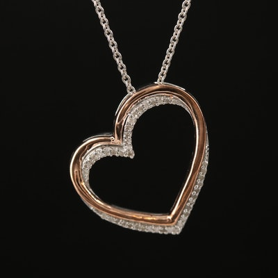 Sterling Silver Diamond Heart Pendant Necklace