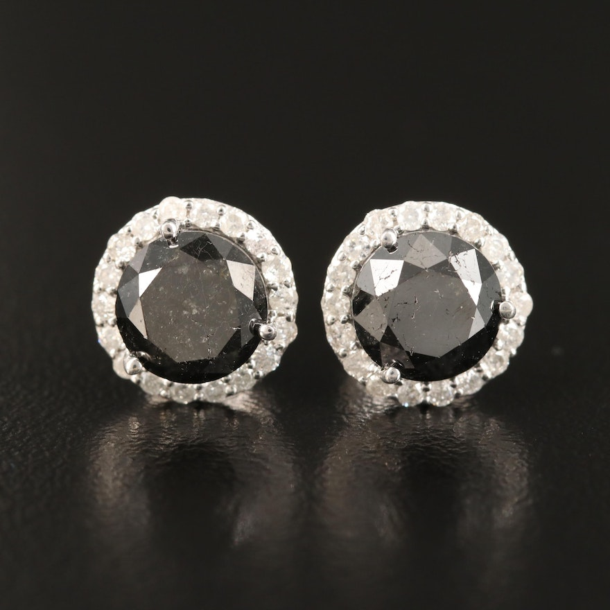 14K 3.93 CTW Diamond Halo Stud Earrings