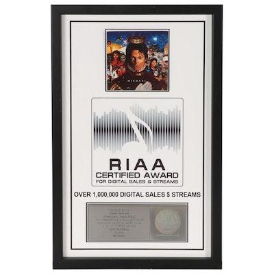 RIAA Platinum Album Award, Jonathan Hay, Publicist Michael Jackson Digital Sales
