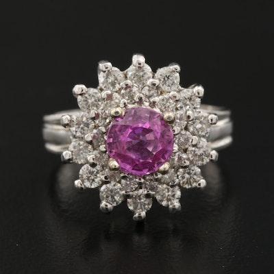 14K 1.29 CT Pink Sapphire and Diamond Ring