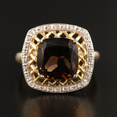 Sterling Smoky Quartz and Diamond Openwork Ring