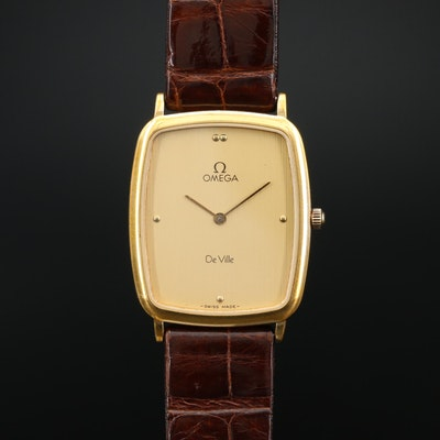 Omega DeVille 195.0076 Stainless Steel and Gold Plate Quartz Wristwatch