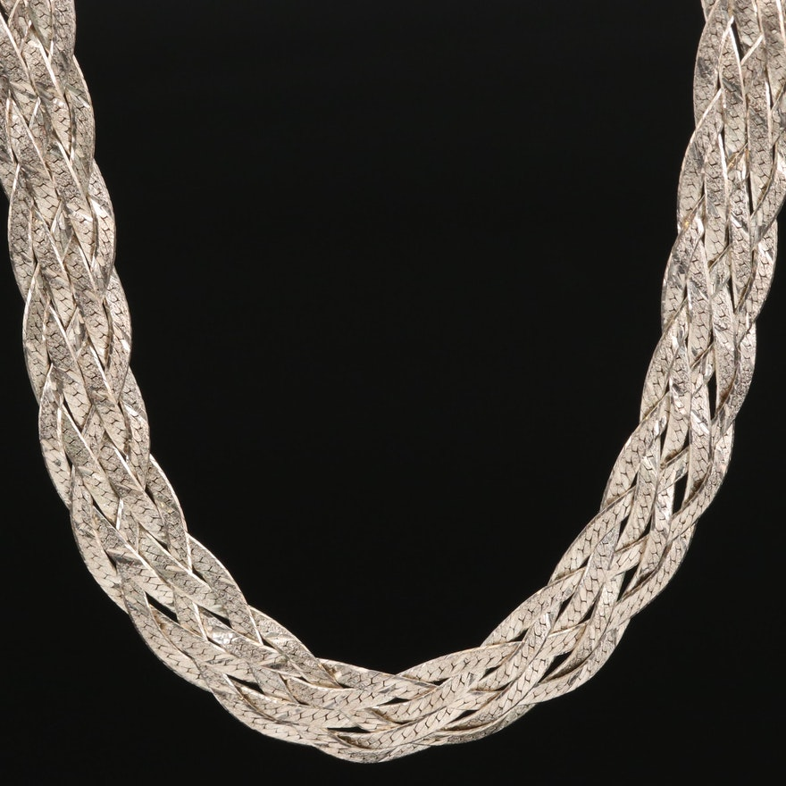 Sterling Silver Woven Herringbone Necklace