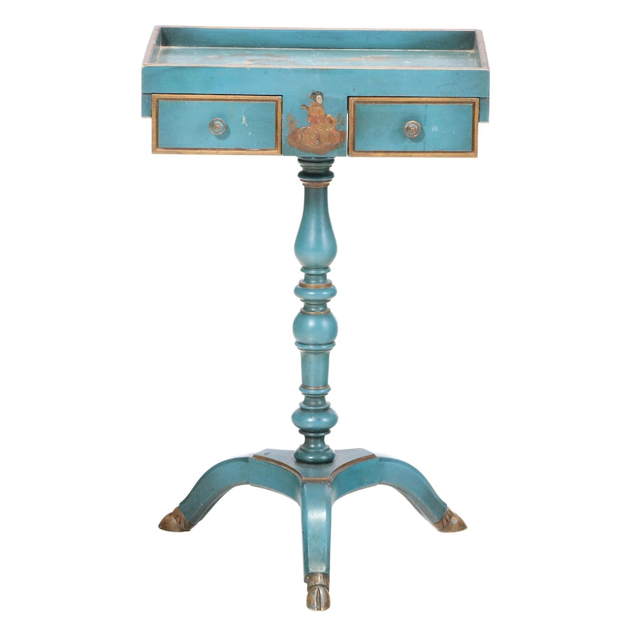 Painted, Parcel-Gilt, and Chinoiserie-Decorated Tripod Side Table, 20th Century