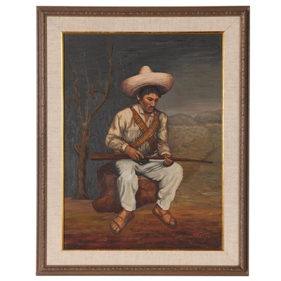 R. Villegas Oil Painting of South American Man with Gun