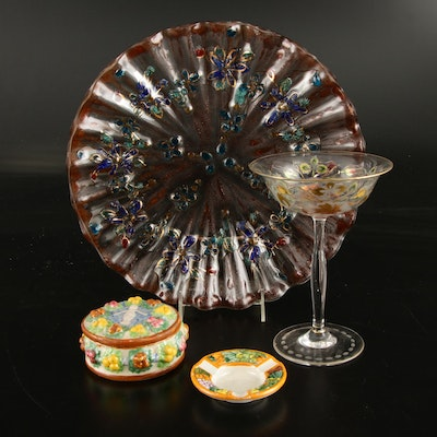 Fused Glass Decorative Platter, Hand-Painted Glass Coupe and Italian Ceramics