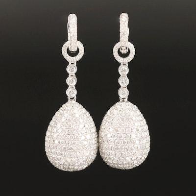 18K 12.00 CTW Pavé Diamond Drop Earrings
