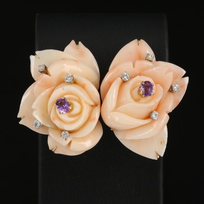 Amethyst, Diamond and Coral Carved Earrings with 14K, 18K and Palladium Accents