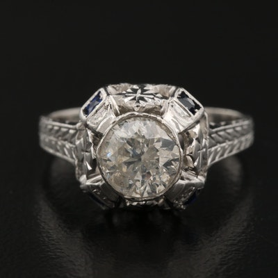 Art Deco 1.00 CT 20K and 14K and Platinum Diamond and Sapphire Ring