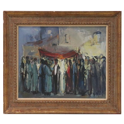 Modernist Oil Painting of a Jewish Wedding, Mid 20th Century