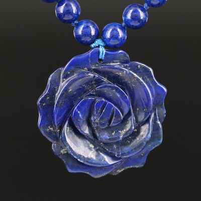 D'joy Lapis Lazuli Flower and Bead Necklace and Sterling Clasp