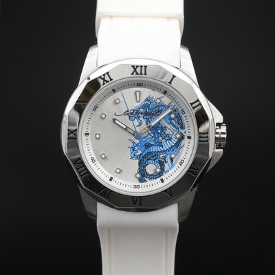 Stainless Steel Ed Hardy Discontinued Quartz Wristwatch