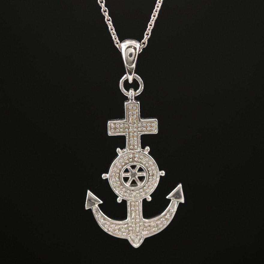 Sterling Silver Diamond Mariner's Cross Pendant Necklace