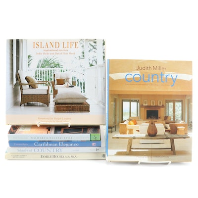"Interior Design Books Including ""Island Life"" by India Hicks and David Wood"