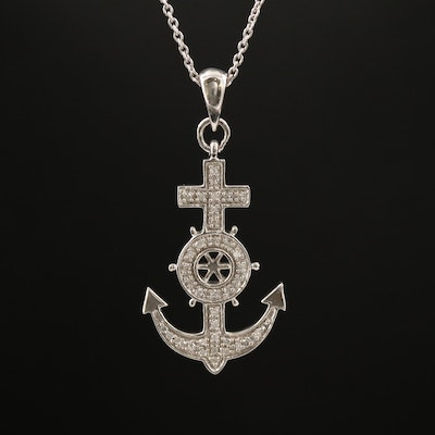 Sterling Silver Diamond Mariner's Cross Necklace