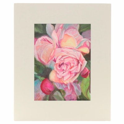 "Jane Bickford Watercolor Painting ""Floral"""