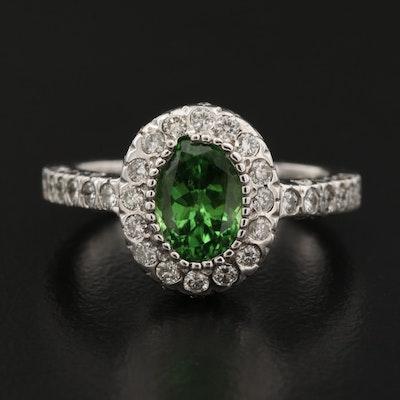 14K 1.48 CT Tsavorite Garnet and Diamond Ring