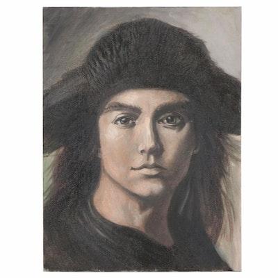 Oil Portrait Painting with Fur Hat