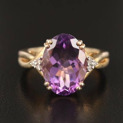 Sterling Oval Faceted Amethyst and Diamond Twist Shank Ring