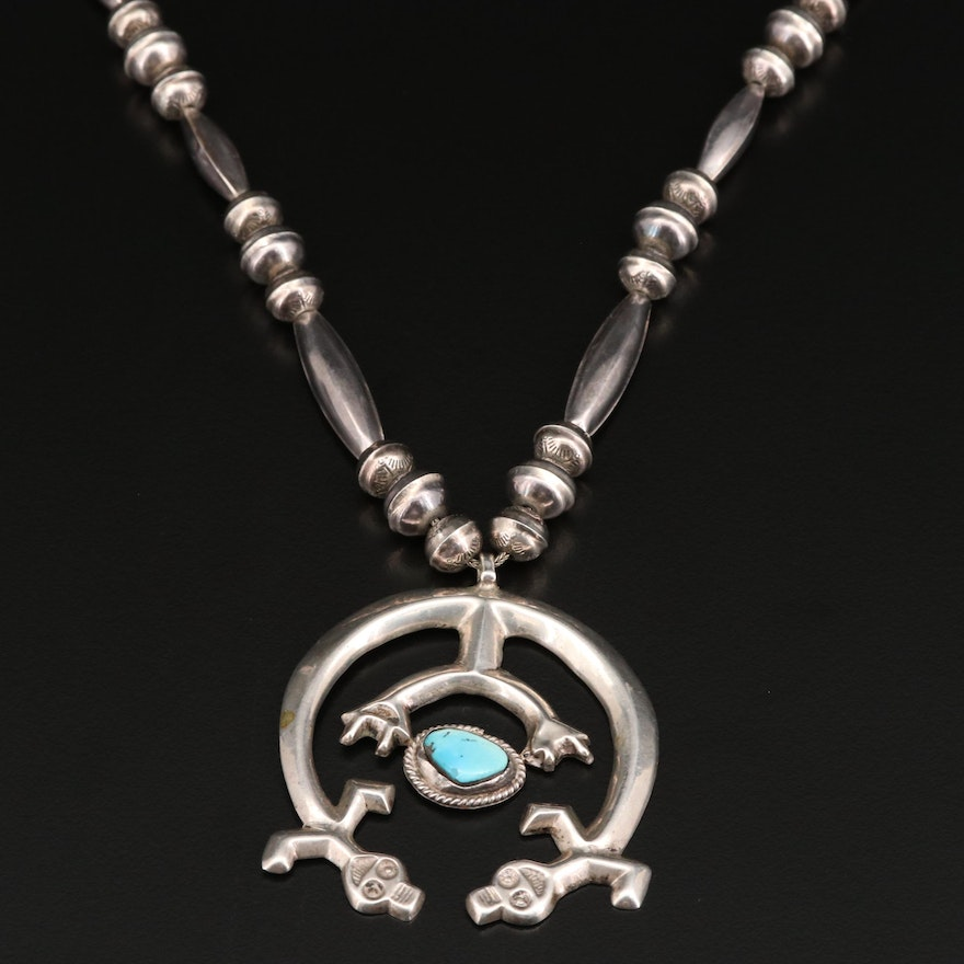Western 800 Silver Turquoise Naja Pendant on Sterling Bench Bead Necklace
