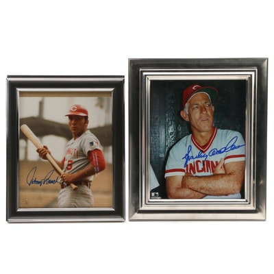 Sparky Anderson and Johnny Bench Signed Cincinnati Reds Framed Photo Print