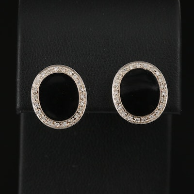 Sterling Silver Button Earrings with Diamond Halo