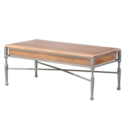 Industrial Style Patinated Metal and Wood Coffee Table