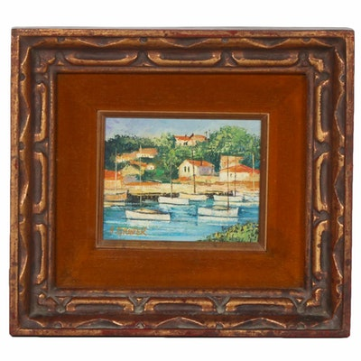 Oil Painting of Inlet Scene with Boats and Cottages