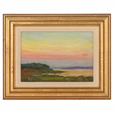 "Oil Painting ""Sunset"" Attributed to Varaldo J. Cariani"