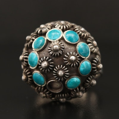 Sterling Silver Faux Turquoise Cannetille Ring