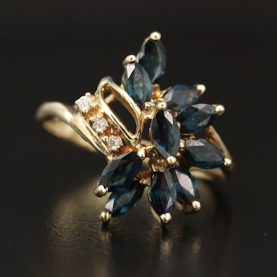 14K Sapphire and Diamond Cluster Ring