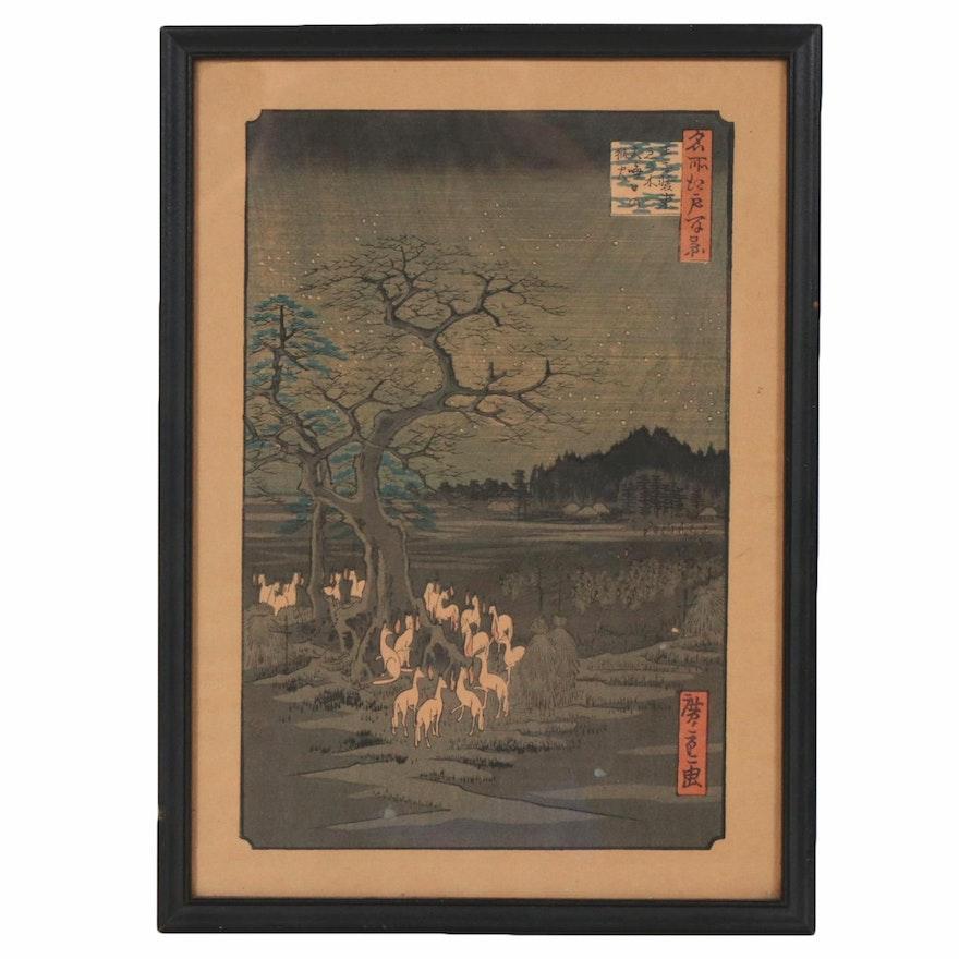 "Ukiyo-e Print after Hiroshige ""Foxfires at the Changing Tree, Ōji"""