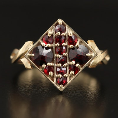 14K Garnet Cluster Ring